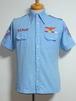 1970's U.S.ミリタリー刺繍インドコットン半袖シャンブレーシャツ 水色 実寸(M位)