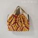 ウズベキスタンの香り!元気な黄色と赤のシルクベルベットバッグ/着物に合うバッグ(送料無料)