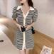 【dress】エレガント気質満点POLOネックパフスリーブワンピース3色 M-0368