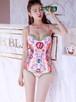 【送料無料】ヴィンテージ柄 ピンク ワンピースビキニ 水着 韓国 フラワー パレオ スカーフ ピンク