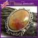 英国 MIRACLE★ブラウン マーブルカボッションガラス ケルティック ヴィンテージ ブローチ  1960s Unsigned