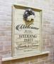 ウェディング ウェルカムボード  リース(パープル・ホワイトリボン)&フレームセット