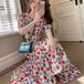 【dress】人気を独占中フェミニンVネックプリント花柄ワンピースゆったり2色