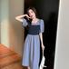 【dress】おしゃれ!ファッション着瘦せ切り替えデートワンピースゆったり2色 M-0263