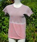 草木染、ベンガラ泥染め絞り、オリジナル綿Tシャツ 女性用Sサイズ(セール価格)