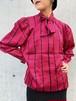 (TOYO) check pattern bow tie l/s blouse