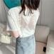 【tops】売り切れ必至カジュアルラウンドネック透かし彫りTシャツ大好評  M-0277