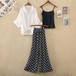 【set】トレンドファッション3点セットシンプルシャツ+キャミソール+ガウチョパンツ