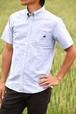 トラクター刺繍入り 半袖ボタンダウンシャツ ブルー