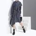 不規則デザイン シャツワンピース ストライプ チェック柄 韓国ファッション レディース ワンピース 折り襟 非対称ストラップ 大人カジュアル 大人可愛い ガーリー / Hanfang Slim Slimming Waist Shirt Length Plaid