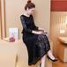 【dress】気質溢れる エレガントチュニック着痩せレースワンピース2色 M-0129