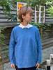 WOMENS:LILOU+LILY【リルアンドリリー】PATCHWORK JACQUARD BOAT NECK  PULLOVER(ブルー/ワンサイズ展開 38)パッチワークジャガード、ボートネックプルオーバー