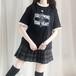 ゴスロリ Tシャツ フリル FOLLOWING YOUR HEART 黒薔薇 プリント モノトーン 病み可愛い オーバーサイズ 韓国 オルチャン 原宿系 10代 20代