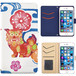 Jenny Desse HUAWEI P8lite ケース 手帳型 カバー スタンド機能 カードホルダー ホワイト(ブルーバック)