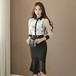 【秋のレディース通勤スタイル】OL ハイウエストスカート セット服 大きいサイズ対応 企業受付嬢コーデ フリルシャツ