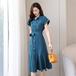 【dress】美人度アップOL、通勤エスニックデートワンピース着瘦せ2色 M-0152