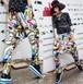 pop2105レディース ヒップホップダンスウェア サルエルパンツ ステージ舞台衣装カジュアル プリントパンツ