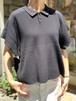 WOMENS:ESTROISLOSE【エストゥロワルーズ】コットンダブルフェイスフレンチスリーブポロシャツ(BLACK/FREEサイズ)