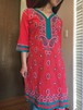 Paisley pattern embroidery red dress