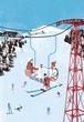 ポストカード - スキーリフト*02807