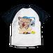 <ラグランTシャツ ホワイト×ネイビー>両面印刷 お風呂みーちゃん