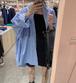 【送料無料】シャツ ブラウス トップス 長袖 ゆったり レディース アウター ブルー ONESIZE