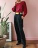 wool navy high waist pants