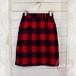 赤×黒ブロックチェック ウール混タイトスカート