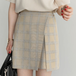 【送料無料】Aライン タータンチェック ショート かわいい ガーリー ラップ ミニスカート