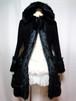 フード付きファーコート(黒)