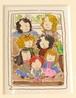 絵『いろんな髪色の7人姉妹』