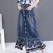 異素材 デニムスカート Aライン フロントボタン 韓国ファッション レディース ロング ハイウエスト 大人カジュアル 大人可愛い ガーリー 621240435167