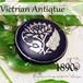 英国 ヴィクトリアンアンティーク★ニエロ彫金 フラワーインレイ サーキュラー ブローチ 1890s モーニングジュエリー