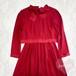 リボンタイ付き レイヤード風 赤ワンピースドレス