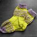 手編み靴下:きいろとグレー