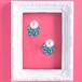青い水玉の鏡と大きなパールのピアス