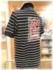 【 CASTELBAJAC 】 - Italy - カステルバジャック       半袖ポロシャツ         ボーダー × バックプリント柄
