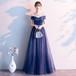全2色 オフショルダー風ロングドレス ワンピース グラデーションカラー ラウンドネック Aライン 結婚式 披露宴 パーティー お呼ばれ 演奏会