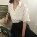 レトロ オシャレ 折り襟 半袖 着痩せ OL シンプル シャツ・トップス