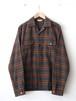 FUJITO Open Collar Shirt Tartan Check,Gingham Check
