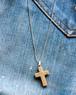 vtg tone cross silver necklace