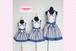 【大人用フリーサイズ】親子コーデエプロン/プリンセスエプロン クローバー ブルー /日本製のかわいいお姫様エプロン!