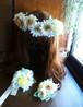 バニラ色ガーベラの花冠、リストレット、ブートニア