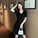 【dress】レディースファッション高級感 シンプル2色 着痩せデートワンピース