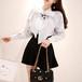 秋新作デザイン 可愛い女の子ファッション 美人服 フリル風シャツとミニスカートセット 女子旅コーデ 原宿コーデ デート服