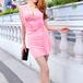 ドレープタイトミニドレス ピンク