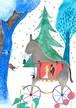ポストカード「 驢馬の車で 」