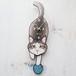 C-50 グレー(長毛)-猫の振り子時計