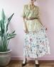 floral open button long skirt