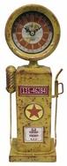 【アンティーク雑貨】置時計 時計 ガソリン スタンド 給油機 イエロー レトロ アメリカン